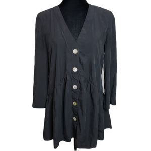 ZARA Black Voluminous Buttoned Blouse Size S